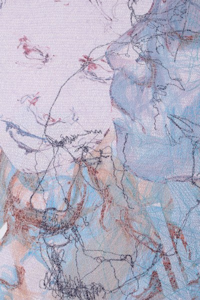 Face to Face 2(Detail), Ink and Machine Embroidery on Paper.