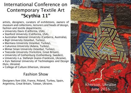 11th International Biennial of Textile Art, Scythia, Kherson. Ukraine, 2016.